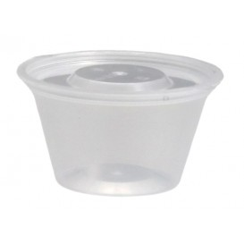 #PZA-1200 Sosiere + capac, transparente, PP, Ø 65 x 35 mm, 2 oz