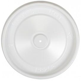 Z01 Capace din PS, albe, plate, cu orificiu pentru aerisire, Ø 98 mm