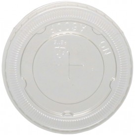 #COF-0200PET-D78C Capace din poletilena, transparente, plate, orificiu pai, Ø 90 mm