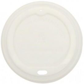 #COF-0200CRT-Z01-CPS Capace din CPLA, albe cu orificiu pentru bauturi calde, Ø 90 mm
