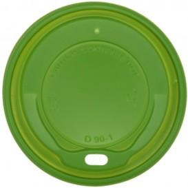 #COF-0200CRT-Z01 Capace din PS, verzi cu orificiu pentru bauturi calde, Ø 90 mm