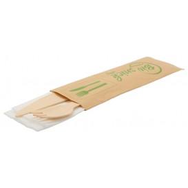 #CTR-LMN-2500 Set tacamuri din lemn ECO ambalate, BIS cutit + furculita + servetel