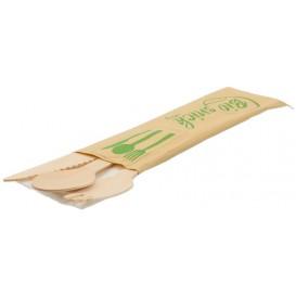#CTR-LMN-2500 Set tacamuri din lemn ECO ambalate, TRIS cutit + furculita + lingura + servetel
