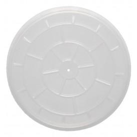 #CTR-ECN-1300-D110-C Capace din PP, transparente, plate, cu orificiu pentru aerisire, Ø 110 mm