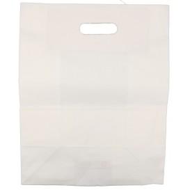 #CTR-CRTALB-3000 Sacose hartie, netiparite, albe cu maner decupat, 310 x 170 x 390 mm