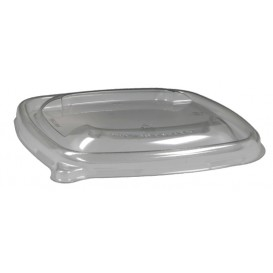 #CTR-BIO-1400-L130-C Capace RPET, transparente, patrate, dome, fara gaura, 130 x 130 mm
