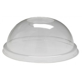 #COF-0200-CPS-D95-C Capace din PLA, transparente, plate, orificiu pai, Ø 95 mm