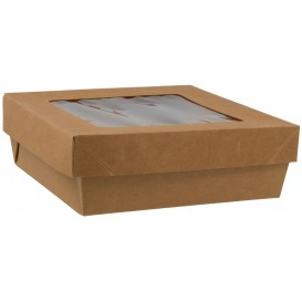 #GLT-1400-CSB Caserole din carton + capac cu fereastra, kraft natur, L155 - H50