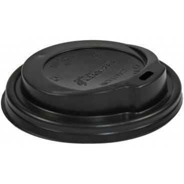 0200-CRTZ Capace din PS, Ø 90 mm, cu orificiu pentru bauturi calde, negre
