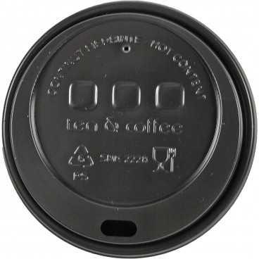 0200-CRTZ Capace din PS, Ø 80 mm, cu orificiu pentru bauturi calde, negre