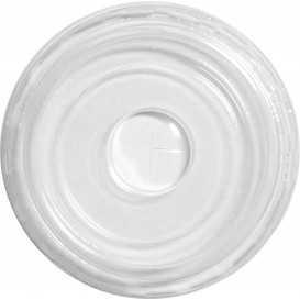 Capace din PET, Ø 80 mm, plate, cu orificiu pentru pai, transparente