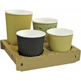 #COF-0200CRT-Z03 Suporti din carton microondul cu perforatii pentru 2 sau 4 pahare, kraft natur