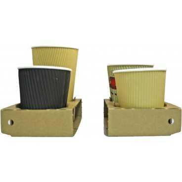 Suporti din carton microondul cu perforatii pentru 2 sau 4 pahare, kraft natur