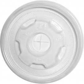 Z01 Capace din PP, transparente, plate, cu orificiu pentru pai, Ø 90 mm