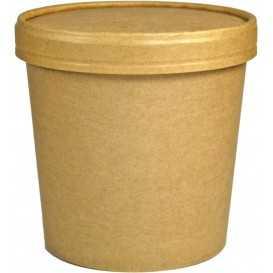 1300-03CSB Boluri din carton, kraft natur, Ø 116 mm, 24oz + capace din carton kraft natur