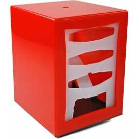 2600V085D Dispenser din plastic pentru servetele pliate spre exterior, 85 x 120 mm, rosu