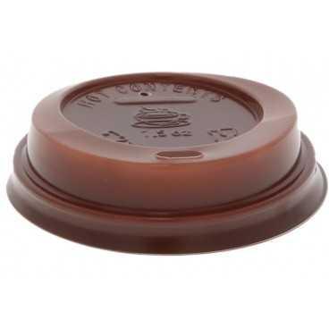 Capace din PS, Ø 70 mm, cu orificiu pentru bauturi calde, maro