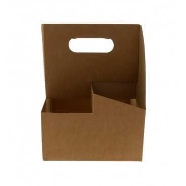 Suporti din carton microondul cu maner pentru 4 pahare, kraft natur