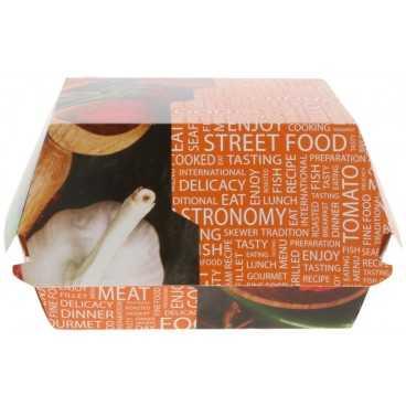 Caserole din carton pentru burger, 120 x 120 x 85 mm, street food