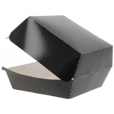 Caserole din carton pentru burger, 100 x 100 x 70 mm, negre