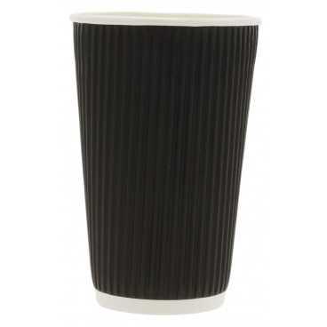 Pahare din carton cu perete triplu, linii, Ø 90 mm, 16oz, negre