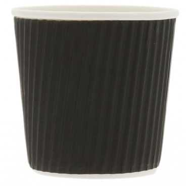 Pahare din carton cu perete triplu, linii, Ø 62 mm,   4oz, negre