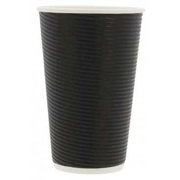Pahare din carton cu perete triplu, cercuri, Ø 90 mm, 16oz, negre
