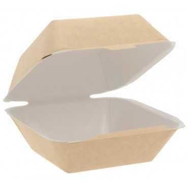 Meniuri din carton cu capac atasat, 90 x 85 x 72 mm, kraft natur + alb