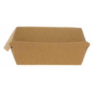 Caserole din carton pentru burger, 100 x 100 x 55 mm, kraft natur + alb