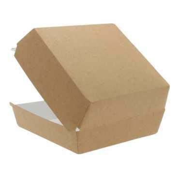 Caserole din carton pentru burger, 150 x 150 x 80 mm, kraft natur + alb