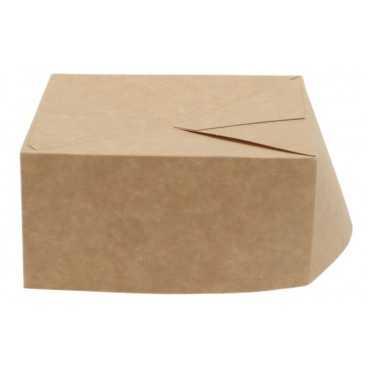 Cutii din carton cu sosiera, 130 x 130 x 65 mm, kraft natur + alb