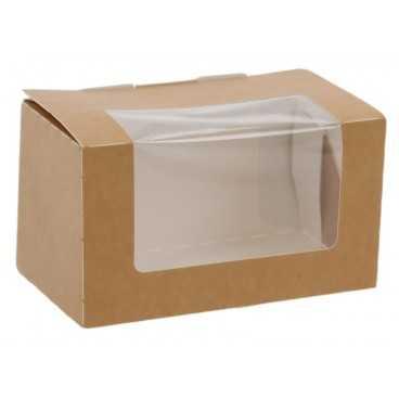 Caserole din carton pentru sandwich club, 125 x 70 x 70 mm, kraft natur + alb