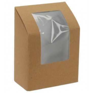 Cutii din carton pentru wrap, cu fereastra, 125 x 92 x 50 mm, kraft natur + alb