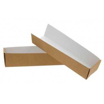 Cutii din carton pentru hot dog, 2 x 180 x 45 x 40 mm, kraft natur + alb