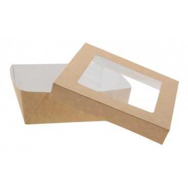 1400CSB Caserole din carton + capac cu fereastra, 155 x 155 x 50 mm, kraft natur + alb