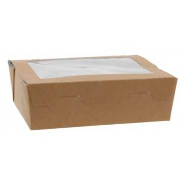 Caserole din carton cu fereastra, 180 x 130 x 55 mm, kraft natur + alb