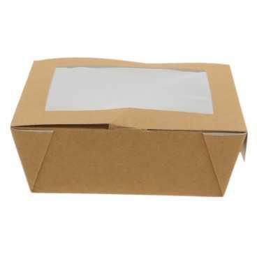 Caserole din carton cu fereastra, 150 x 150 x 50 mm, kraft natur + alb