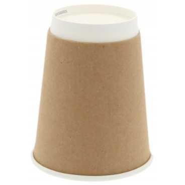 Pahare din carton cu perete dublu, Ø 90 mm, 12oz, kraft natur + alb