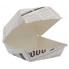 #CTR-CRTZIR-1400 Caserole din carton pentru burger, 100 x 100 mm, ziar