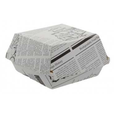 1400CABG Caserole din carton pentru burger, 100 x 100 mm, ziar