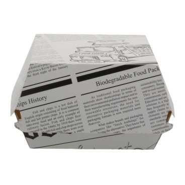 1400CABG Caserole din carton pentru burger, 120 x 120 x 85 mm, ziar