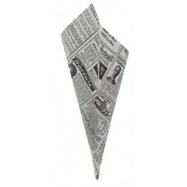 1500 Corneturi din hartie rezistenta la grasimi, 155 x 140 mm, ziar