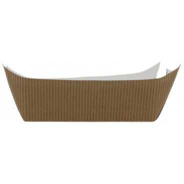 0950 Barcute din carton rippled, kraft natur + alb, 400cc, 170 x 125 x 40 mm