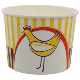 1300-03CSB Boluri din carton tip bucket, chicken, Ø 168 mm, 1920 cc + capace din carton