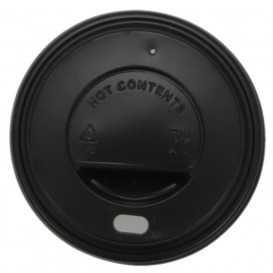 #COF-0200CRT-Z01 Capace din PS, negre cu orificiu pentru bauturi calde, Ø 73 mm