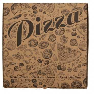 #PZA-4300 Cutii pizza, natur, colturi drepte, 240 x 240 x 30 mm