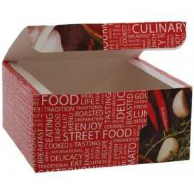 #CTR-CRTSTF-1400 Meniuri din carton cu clapeta, street food, 130 x 130 x 62 mm