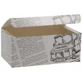 #CTR-CRTZIR-1400 Meniuri din carton cu clapeta, ziar, 145 x 85 x 60 mm