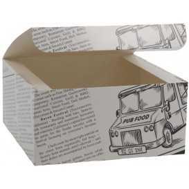 #CTR-CRTZIR-1400 Meniuri din carton cu clapeta, ziar, 130 x 130 x 62 mm
