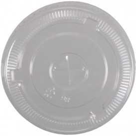 Z01 Capace din PET, transparente, plate, cu orificiu pentru pai, Ø 98 mm